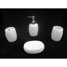 Silver Lining Ceramic Bathroom Set,12/C M/4