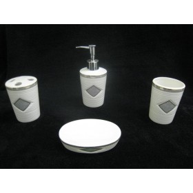 Green Diamond Ceramic Bathroom Set,12/C M/4